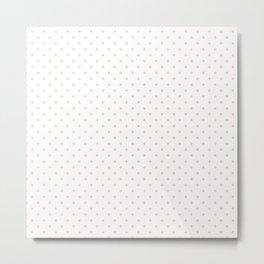 Mini Pale Millennial Pink Pastel Polka Dots On White Metal Print