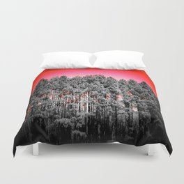Gray Trees Candy Apple red Sky Duvet Cover