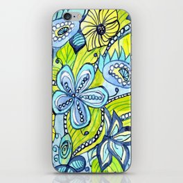Turquoise, Yellow, and Green Floral iPhone Skin