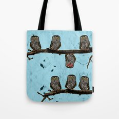 Perched Owls Print Tote Bag