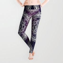 Violet Flower Mandala Leggings
