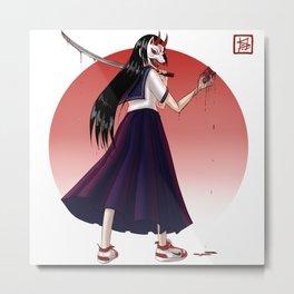Japanese Demon Masked School Girl Metal Print