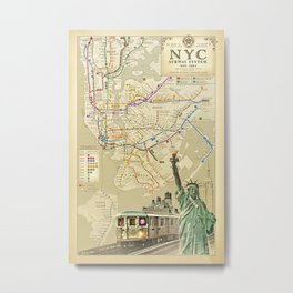 """Vintage"" NYC Subway System Art Print Metal Print"