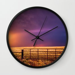 Western Front - Colorful Sky in Summer Storm Wall Clock