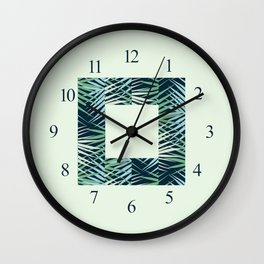 Areca Palm Leaves Stripe Wall Clock