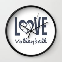 volleyball Wall Clocks featuring Love Heart Volleyball (blue) by raineon