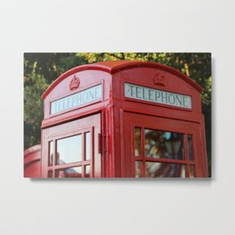 Red British Telephone Kiosk, Red Phone Box in London Metal Print