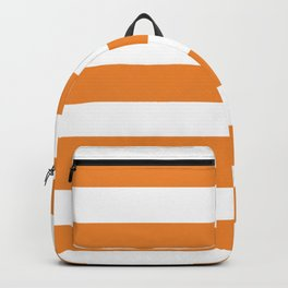 Cadmium orange - solid color - white stripes pattern Backpack