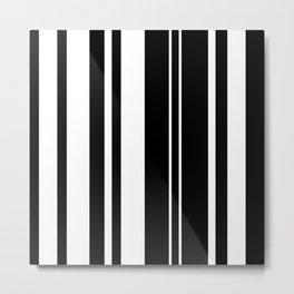 Minimalist Era - Black & White Stripe Asymmetrical Metal Print