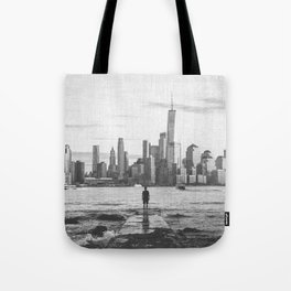 New York City Skyline Views and Vibes Black and White Tote Bag