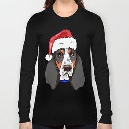 Basset Hound Dog Christmas Hat Long Sleeve T-shirt