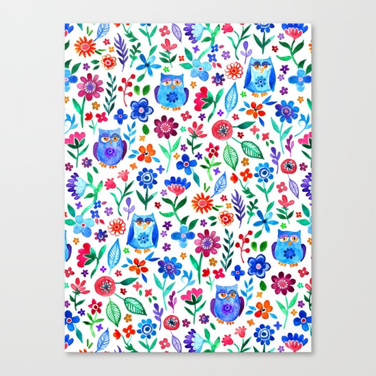 Little Owls and Flowers on White Canvas Print