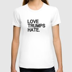 Love Trumps Hate MEDIUM Womens Fitted Tee White
