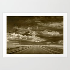 Sepia of Highway 2 in Northern Montana Art Print