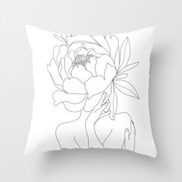 Minimal Line Art Woman Flower Head Throw Pillow