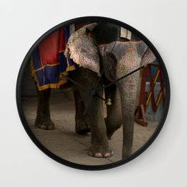 Elephants in Jaipur, India Wall Clock
