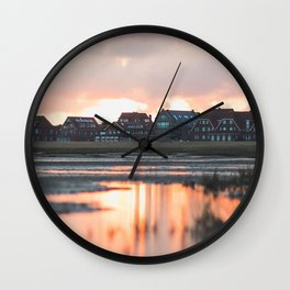 houses, river, clouds, sunset, juist, germany Wall Clock