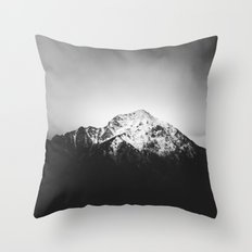 Black and white snowy mountain Throw Pillow
