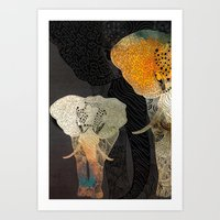 elephants Art Prints featuring Elephants by Krismarx