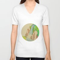 waterfall V-neck T-shirts featuring Waterfall by Karly Nakashima