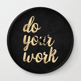 Do Your Work Gold on Black Fabric Wall Clock