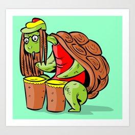 rasta marihuana turtle Art Print