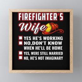 Firefighter's Wife Red Helmet Framed Mini Art Print