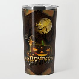 Halloween, funny pumpkin with owl Travel Mug