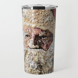 Santa Made from Shells- Buttons- Beads Travel Mug