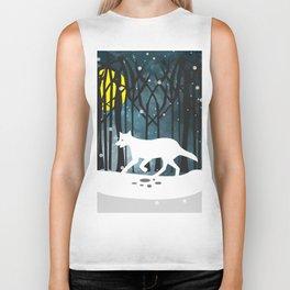 White Wolf at Midnight Biker Tank