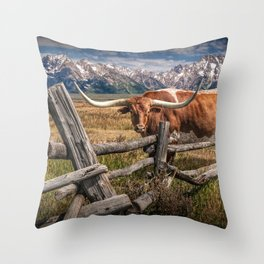 Texas Longhorn Steer with Wood Log Fence in Wyoming Pasture Throw Pillow