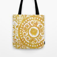 damask Tote Bags featuring Damask by studioDarcy