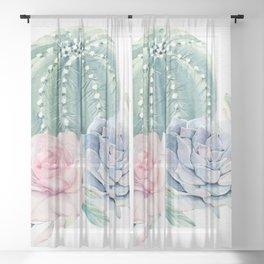 Cactus Rose Succulent by Nature Magick Sheer Curtain