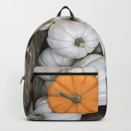 White Ghost Pumpkin and sneaky orange galore fall harvest sneaky orange   Backpack