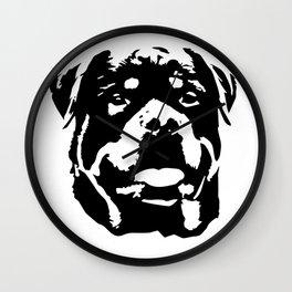 Rottweiler Dog black white Wall Clock