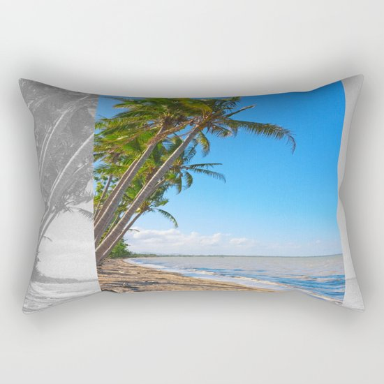 Coconut palms on beach Rectangular Pillow
