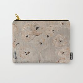 Pretty Flower print abstract white grey poppies Carry-All Pouch