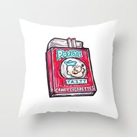 popeye Throw Pillows featuring Popeye Smokes  by Snack Paintings