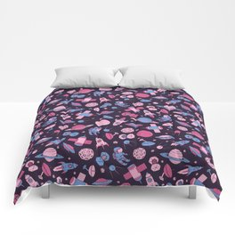 Pink Space Pattern Comforters