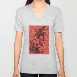 Long The Chinese Zodiac Dragon in red, black and gold Unisex V-Neck
