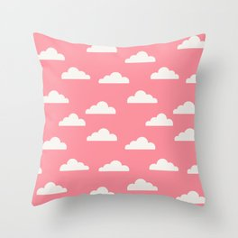 Clouds Pink Throw Pillow