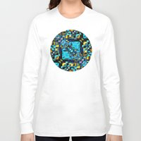 technology Long Sleeve T-shirts featuring Blue Technology Abstract by Phil Perkins