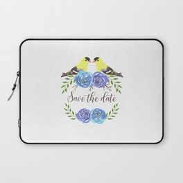Save the date- Goldfinches and roses watercolor Laptop Sleeve