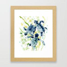 Sea Turtles , Indigo Blue Olive green Turtle art Framed Art Print