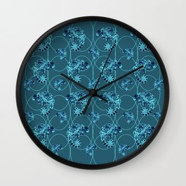 Chameleon Oneness in Midnight Vintage Psychedelic Blue Space Wall Clock