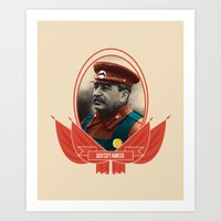 soviet Art Prints featuring Soviet Mario by Dogan Kilinc