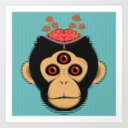 3rd Eye Chimp & Psychedelic Mushrooms Art Print