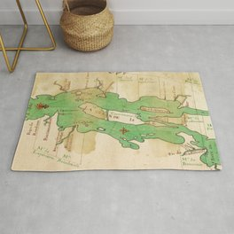 Vintage Map of Lake Champlain (1740) Rug