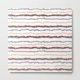 Brown Leafy Line Pattern Metal Print