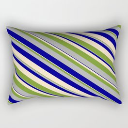 Green, Dark Grey, Blue, and Bisque Colored Stripes/Lines Pattern Rectangular Pillow